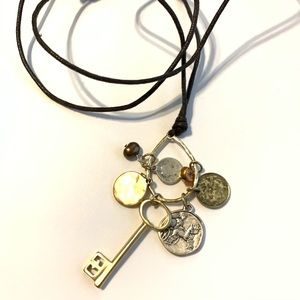 """⭐️Key Necklace On Brown Thread Twine Chain 36"""""""